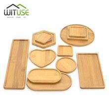 Cuencos cuadrados redondo de bambú Natural, platos para macetas de flor suculenta de cerámica, Base para decoración de jardín, manualidades para decoración del hogar