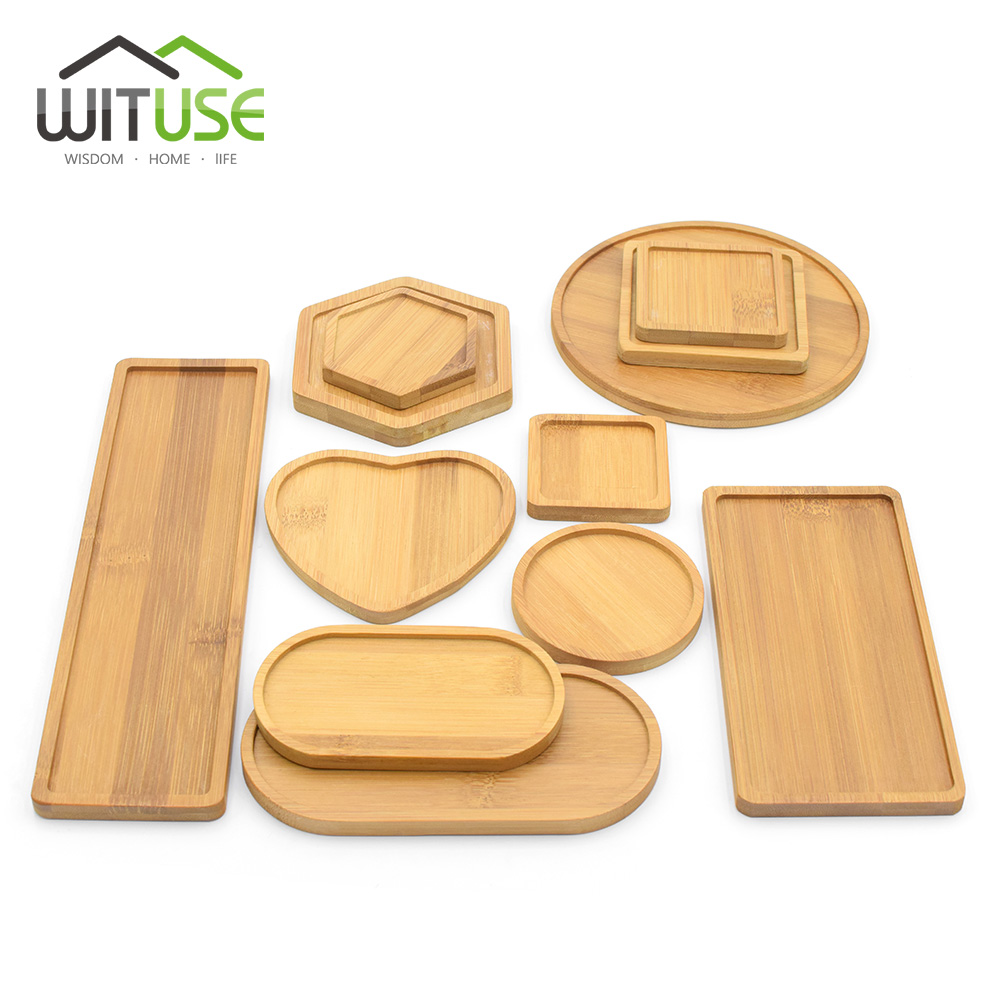Natural Bamboo Round Square Bowls Plates for Ceramic Succulents Flower Pots Trays Base Garden Decor Home Decoration Crafts-in Flower Pots & Planters from Home & Garden