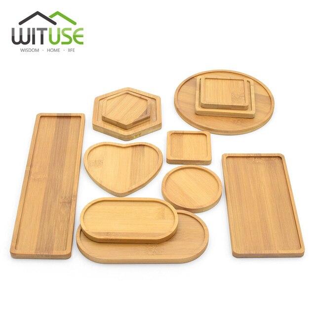 Natural bambu redondo quadrado tigelas placas para suculentas cerâmicas vasos de flores bandejas base jardim decoração para casa artesanato