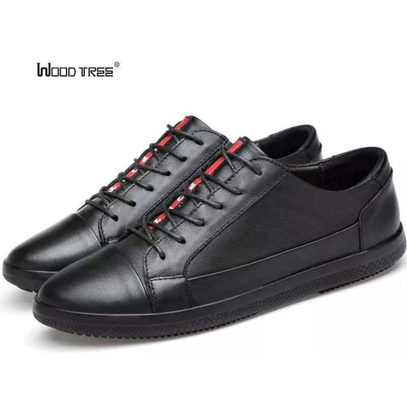 WOODTREE Men's Leather Casual Shoes Classic Fashion Male Lace up Flats Black White Men Krasovki Flat Heel Sneakers tenis cirohuner leather casual men shoes male lace up flats black men krasovki flat heel sneakers tenis masculino comfortable shoes