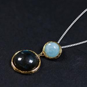 Image 2 - לוטוס כיף אמיתי 925 כסף סטרלינג טבעי אבן בעבודת יד תכשיטים מסתורי אגם עיצוב תליון ללא שרשרת לנשים