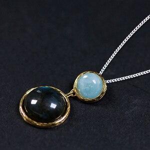 Image 2 - Lotus Fun, pendentif en argent Sterling 925, en pierre naturelle, fait à la main, bijoux fins, Design lac mystérieux, sans chaîne, pour femmes
