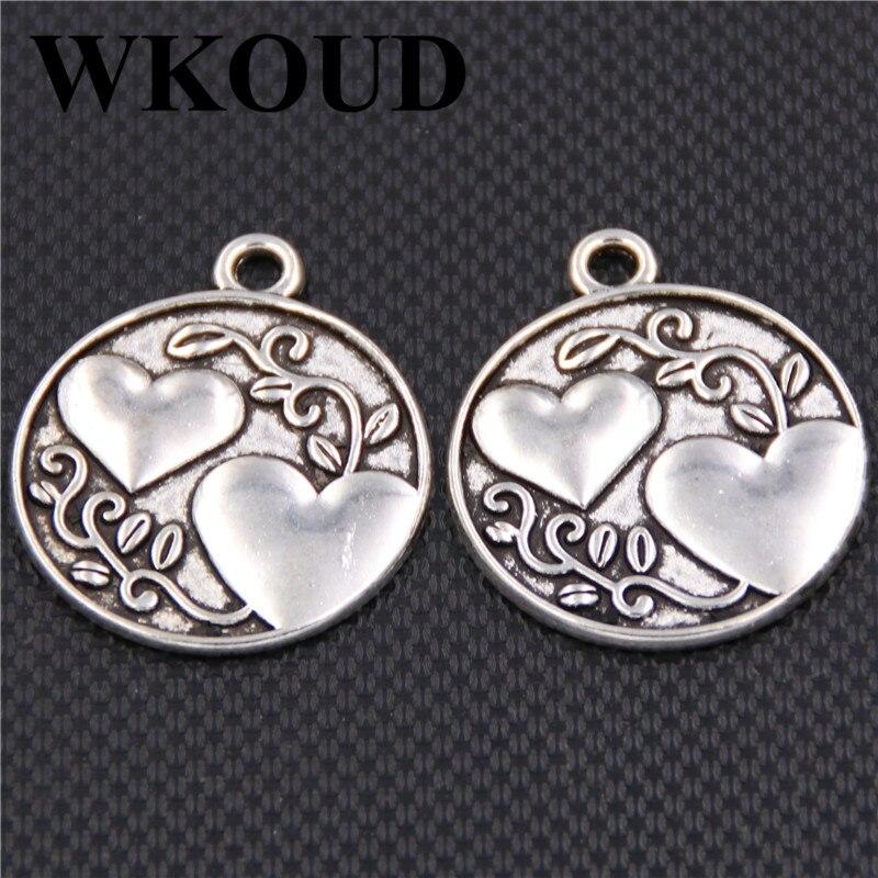 6pcs Antique Silver My Sweetheart Glamor round tablets Alloy Pendants For Bracelet Earrings DIY Jewellery Handmade charm makings