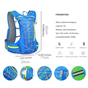Lightweight Running Hydration Vest Backpack 15L Outdoor Trail Running Marathon Cycling Hiking Climbing Outdoor Sport Bag Pack XL
