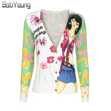 BabYoung 2017 Autumn Women Cardigans Fashion cartoon girl Sweater Lovely Christmas Sweater Cashmere Sweater Women Pull Femme
