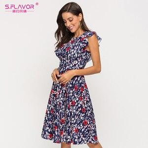 Image 2 - S. Smaak Vrouwen Mouwloos A lijn Zomer Jurk Elegant Printing Midi Jurk Voor Vrouwelijke 2020 Mode Slim Casual Jurken
