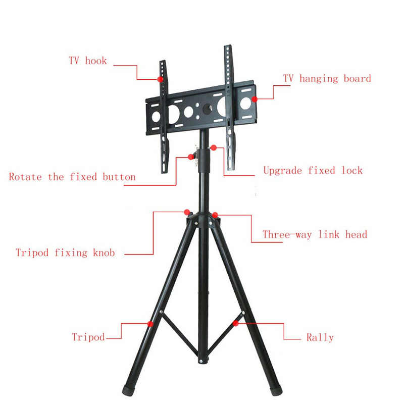 Tinggi Adjustable TV Lantai Tripod Berdiri 15Kg Tilt Putar LCD Monitor Portable Tripod Mount Ponsel TV Angkat Holder VESA 400X400 Mm