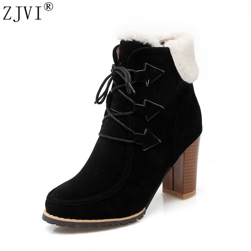 ZJVI fashion women nubuck ankle boots 2018 woman winter autumn boots womens thick high heels boots ladies lace up black shoes