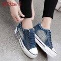 Lavagem Com Água do vintage Denim Sapatos 2016 Respirável Mulheres Sapatas de Lona Ocasionais Sapatos de Plataforma Sola Grossa Formadores Zapatillas size35-40