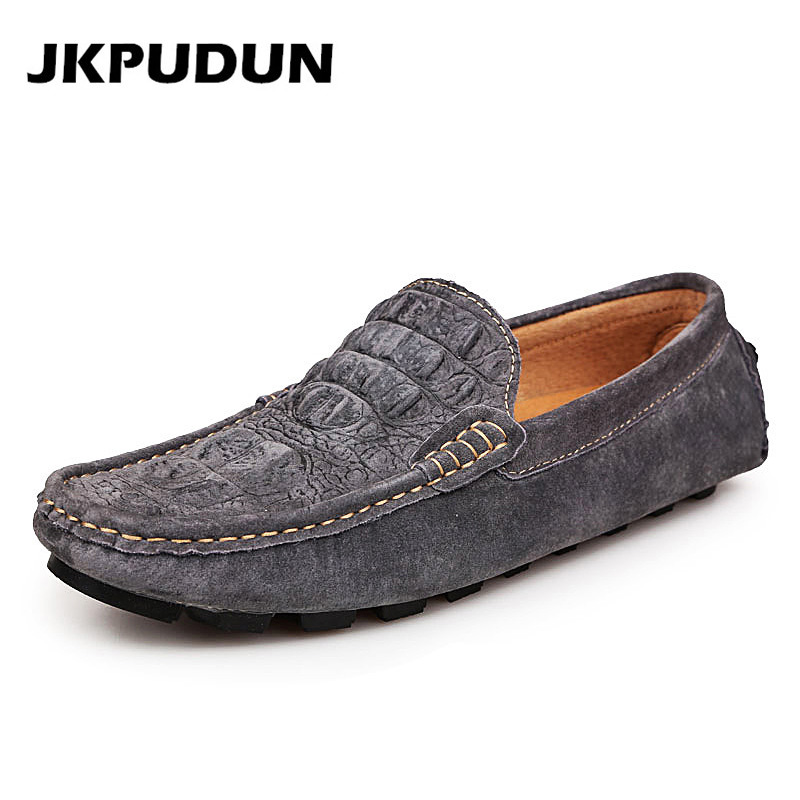 JKPUDUN Italian Casual Crocodile Leather Driving Shoes