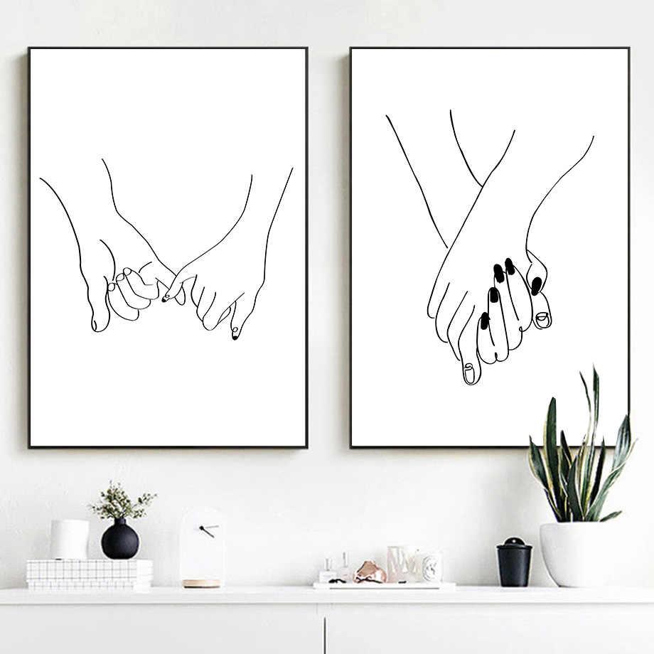 Линия рисования поцелуй Handholding холст постер абстрактная настенная живопись Печать минималистский скандинавский Декор Картина домашний декор