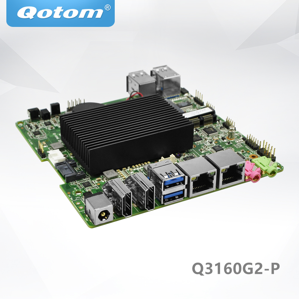 QOTOM Mini ITX Motherboard Q3160G2-P with Celeron J3160 Processor, quad core up to 2.24 GHz qotom mini itx motherboard with celeron n3150 processor quad core up to 2 08 ghz 2 lan 2 display port fanless motherboard page 1