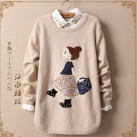 Japanese Autumn Mori Girl Sweet Cartoon Girl Pattern Sweater Women's Round Neck Long Sleeved Cotton Casual Soft Sweater U202