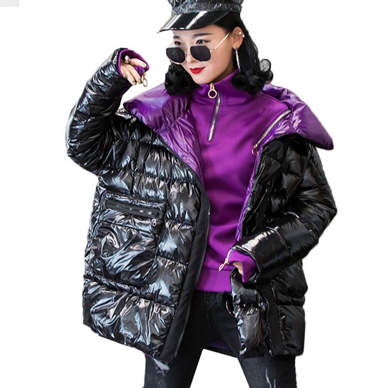Winter Jacket Women Bright Short Down parka Basic Coat New Student Bread Street Clothing Warm Down Jacket Coat Cotton Ouywear 76-in Parkas from Women's Clothing    1