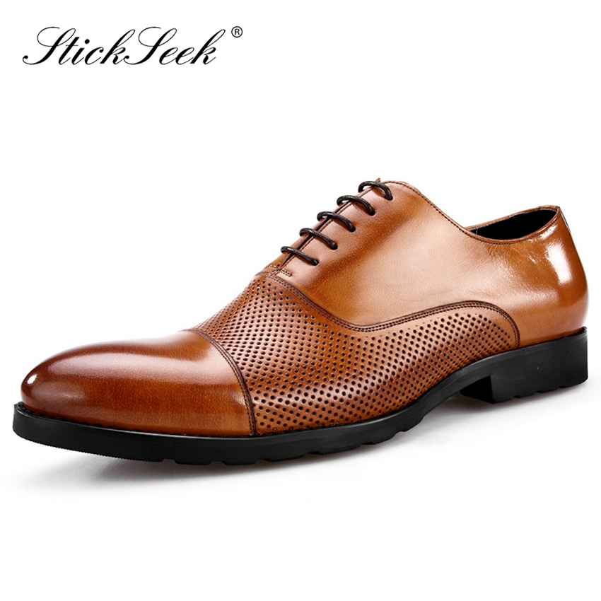 Summer Style Genuine Cow Leather Formal Dress Man Wedding Party Shoes Round Toe Handmade Mens Breathable Office Oxfords SK149Summer Style Genuine Cow Leather Formal Dress Man Wedding Party Shoes Round Toe Handmade Mens Breathable Office Oxfords SK149