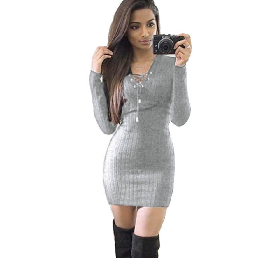 Fashionable Especially Classics dresses Women Winter Long Sleeve Knitted BodyCon Sweater V-Neck Dress  knitting Cotton robe