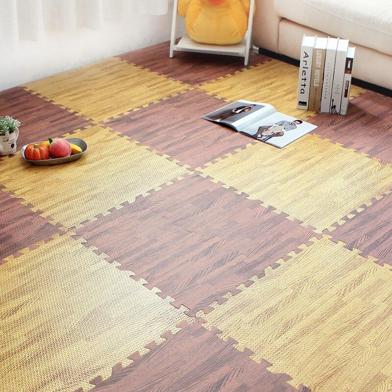 Maison salon épaissi grain de bois couture mousse zone tapis chambre cuisine tapis enfants puzzle tatami ramper pad anti-dérapant