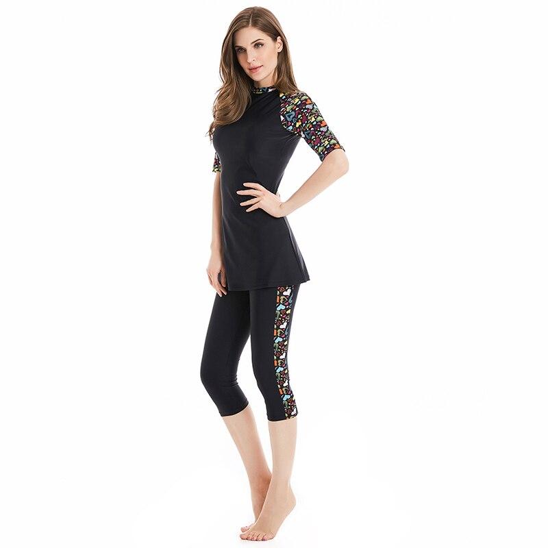 Muslim Swimwear Women Modest Patchwork Full Cover Short Sleeve Swimsuit Islamic Hijab Islam Bathing Suit Burkinis Wear