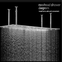 Modern Hotel Ceiling Showerhead Rain Massage Big Shower Panel 304 Stainless Steel Brushed Quality Bathtub Large Shower