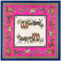 Horse Scarf Women Twill Scarf 100X100CM Square Silk Scarf Winter Shawls And Scarves Muslim Hijab Ponchos And Capes