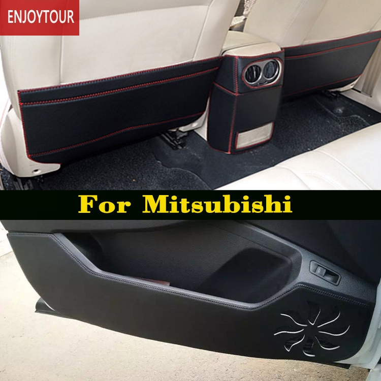Car pads front rear door Seat Anti-kick mat For <font><b>Mitsubishi</b></font> Montero Pajero Shogun v97 v93 Outlander Sport asx RVR Lancer ex image