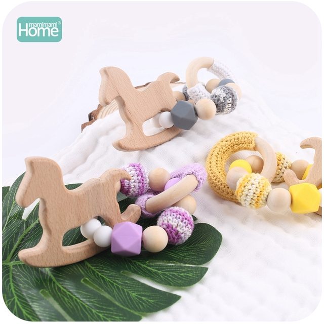 MamimamiHome 2pc Baby Rattle Beech Horse Wood Teething Crochet Beads Bracelets Montessori Toys For Children Baby Crochet Toys 5