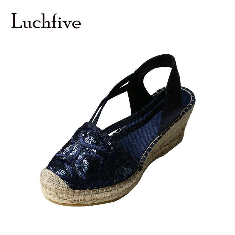 Bling sequins women sandals classic cover toe casual slip on female shoes comfortable wedges summer sandalias plataforma 2018