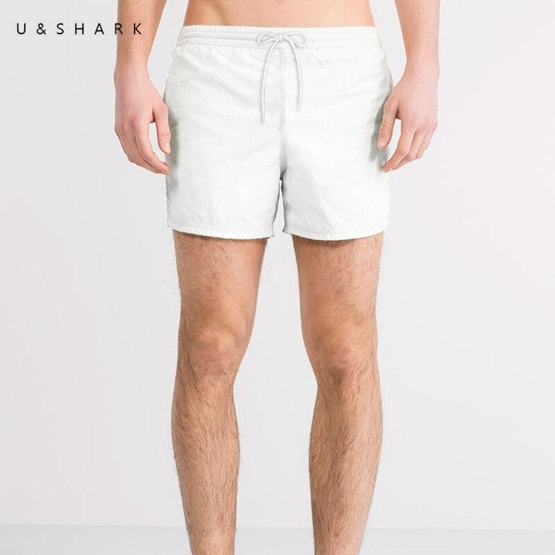 U&SHARK Brand Summer   Board     Shorts   Men Casual Solid Beach   Shorts   Fashion Quick Dry White   Shorts   Man Straight Drawstring   Shorts