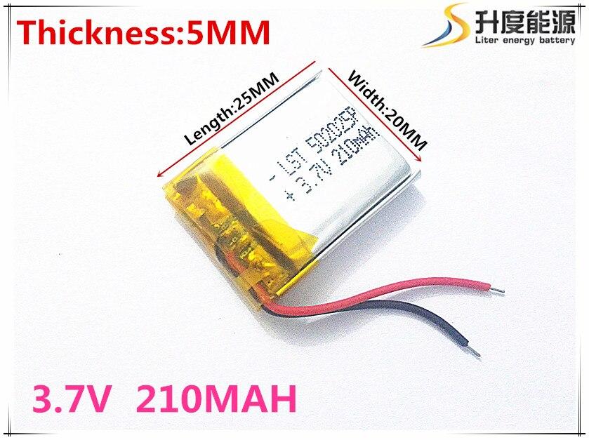 5 шт. Размеры 502025 3.7 В 210 мАч литий-полимерный Батарея с защитой доска для MP3 MP4 MP5 GPS цифровой продукты Бесплатная доставка