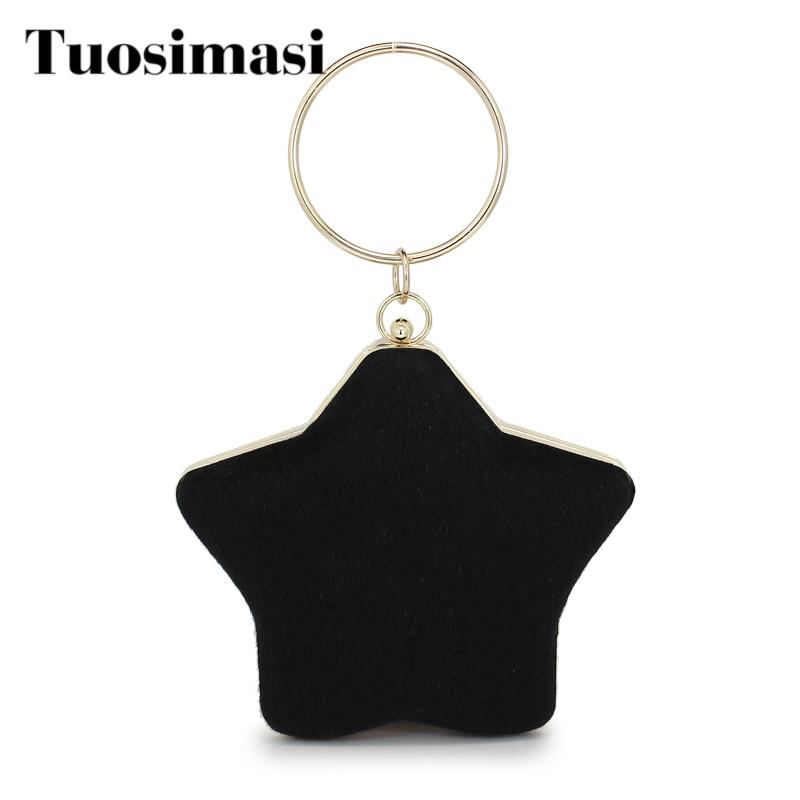 Star shape metal ring faux fur fashion ladies handbag clutch bag chain purse female crossbody messenger bag shoulder bag(C1623)|Top-Handle Bags|Luggage & Bags - title=