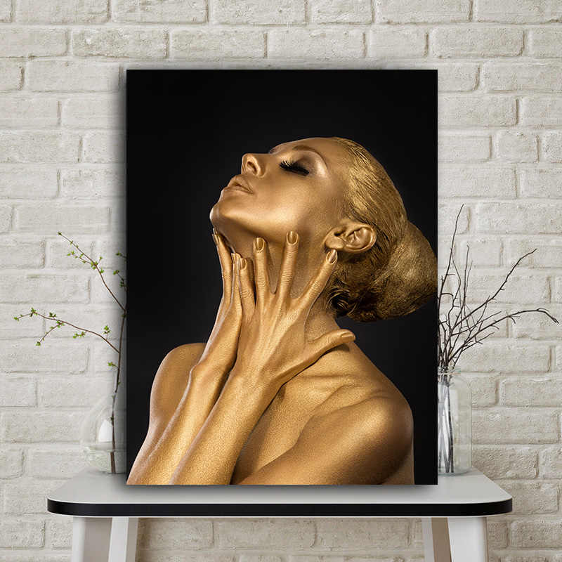 Gold Black Nude African Art Woman Oil Painting on Canvas Posters and Prints Scandinavian Cuadros Wall Picture for Living Room