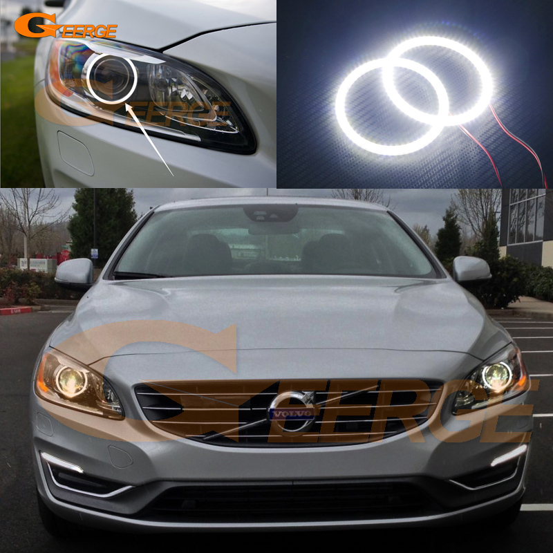 For Volvo S60 S60L V60 2014 2015 2016 Xenon Headlight Excellent Angel Eyes Ultra bright illumination smd led Angel Eyes kit 2pcs purple blue red green led demon eyes for bixenon projector lens hella5 q5 2 5inch and 3 0inch headlight angel devil demon