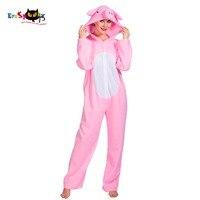 Eraspooky 2018 Cute Onesie Animal Costume Adult Pink Pig Unisex Cartoon Cosplay Women Fancy Dress Halloween Hoodie Jumpsuit NEW