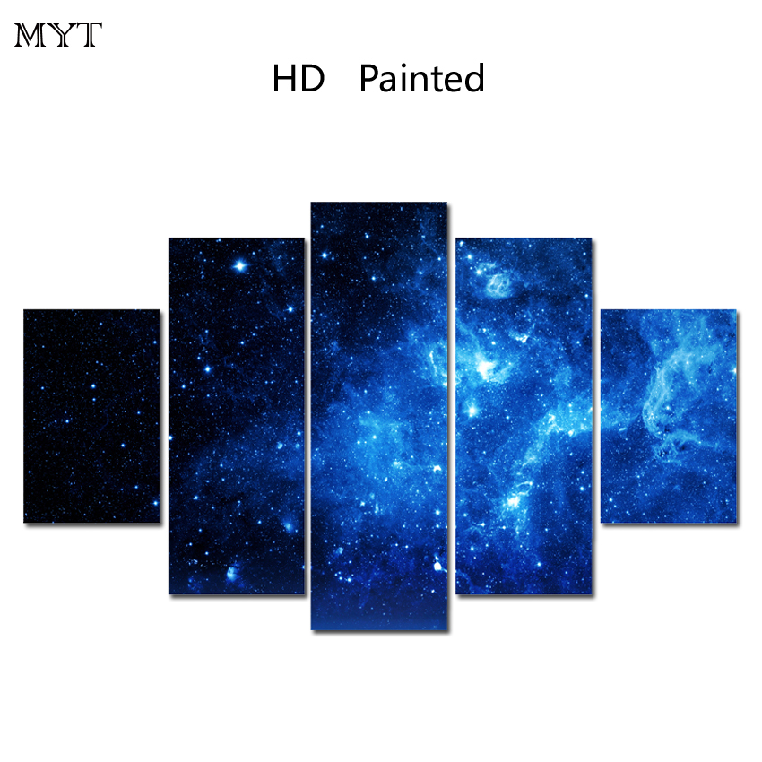 MYT Free shipping Hot Sale 5 Pcs Canvas HD printed Wall Painting beautiful Blue sky Art Picture Home Decor On Canvas Modern