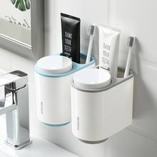 Wall Mount Toothbrush Holder Plastic Magnetic Adsorption Toothpaste Storage Rack Household Bathroom Dust-proof Box Accessories