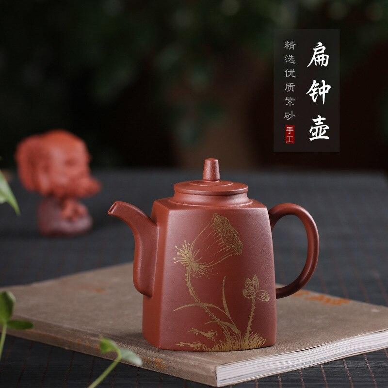purple sand pot, raw ore trough, green and pure hand-made Jiang Quanwei flat bell pot tea set gift box one by one.purple sand pot, raw ore trough, green and pure hand-made Jiang Quanwei flat bell pot tea set gift box one by one.