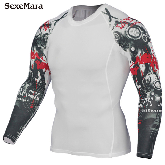 ca2eab16d994b 2018 Men's Compression Shirt Long sleeve Breathable Bodybuilding Weight  lifting Base Layer Fitness Running T-Shirt Tight Tops