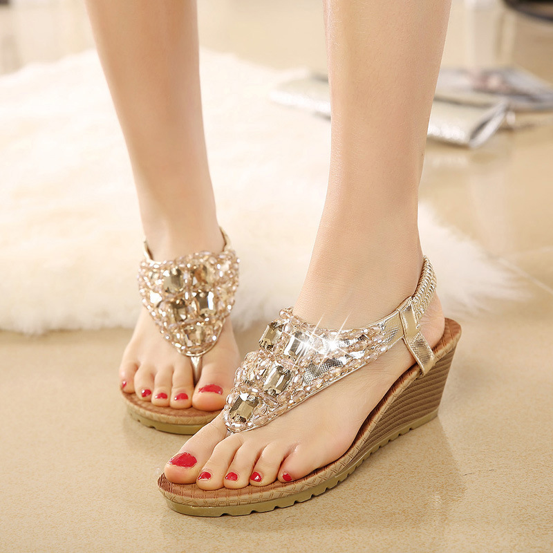 FONGIMIC Summer Women Sandals Wedges Cool Sandals Women Sweet Shoes Bohemia  Rhinestones Flip Flop Shoes Large Size Golg Silver-in Women s Sandals from  Shoes ... 37915212618b