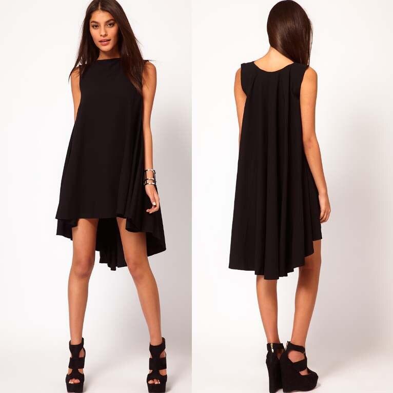 Casual Black Chiffon Dress