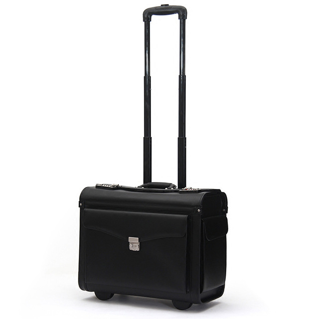 travel tale 19 inch Black carry on suitcase PU leather cabin trolley busy boarding crew luggage