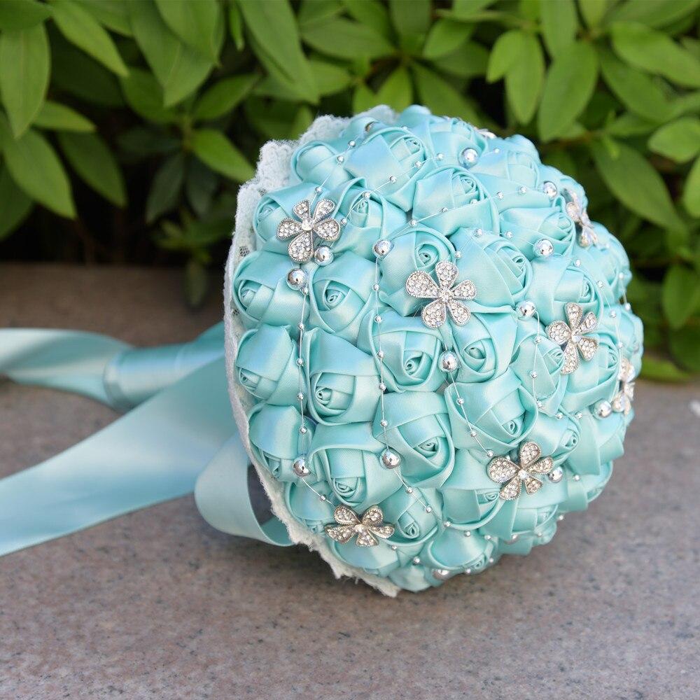Wedding Hand Bouquet Flower: 1Pc/lot Blue Wedding Bouquets Hand Made Flower Rhinestone