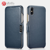 For apple iPhone X Luxury Series Side open Magnet Phone Case (Metal clip in the front) For iPhone XS Full Edge Closed Flip Cover