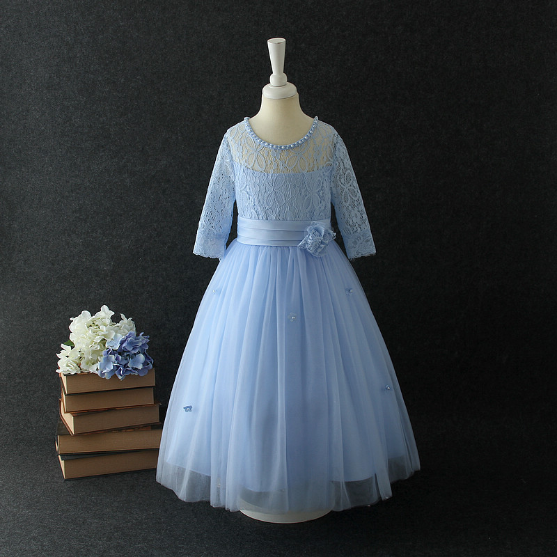beige flower girls dress lace ball gown kids 12 years old formal ...