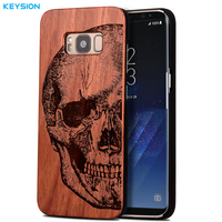 KEYSION Case For Samsung Galaxy S8 S8 Plus Original Luxury Emboss Solid Wood And Hard PC