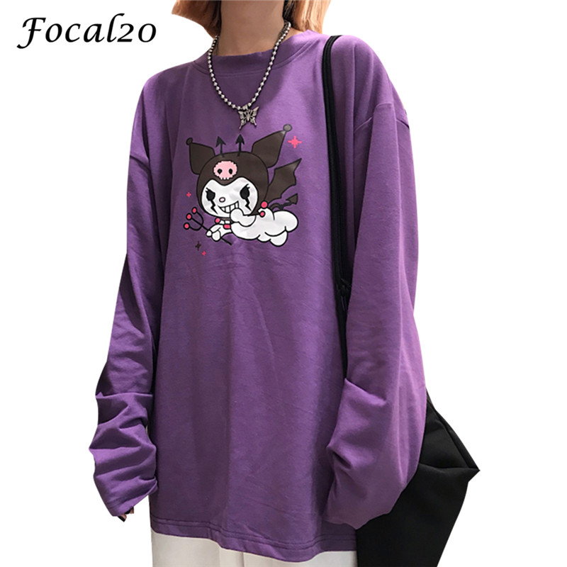 Focal20 Streetwear Devil Print Purple Women T-shirt Long Sleeve O-Neck T Shirt Causal Loose Spring Autumn Tee Top