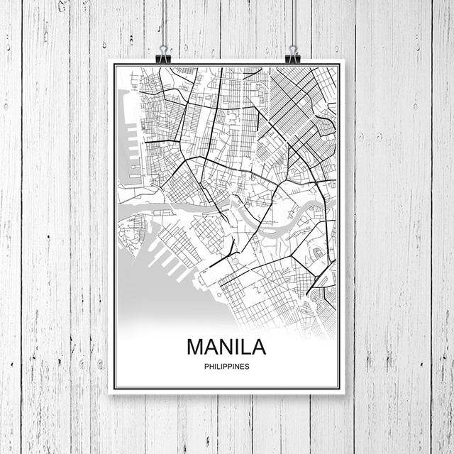 Manila philippines world city map print poster abstract coated paper manila philippines world city map print poster abstract coated paper bar cafe living room home decoration gumiabroncs Images