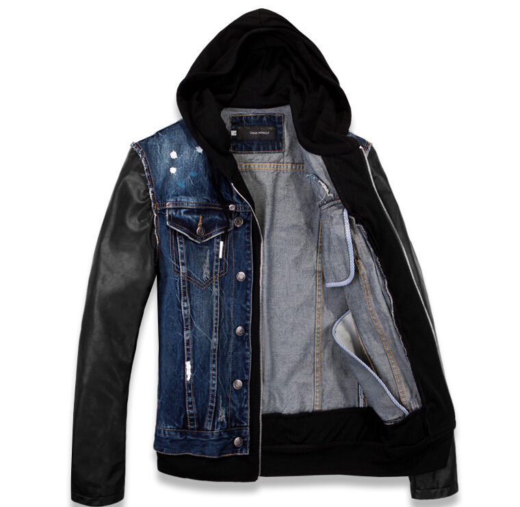 Free shipping Mens VINTAGE motorcycle Black leather sleeve Patchwork Denim Jean Jacket Coat Hiddies US SIZE M/L/XL/XXL/XXXL Blue