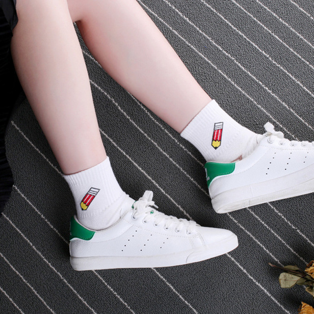 Women's White Cotton Socks