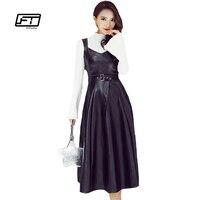 Fitaylor מזויפת אלגנטית אופנה שמלת עור סתיו חורף הנשים Pu שמלת עור רך סקסי V צוואר שרוולים גבוה מותן שחור