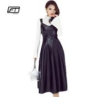 Fitaylor Autumn Winter Women Pu Leather Dress Fashion Elegant Faux Soft Leather Sexy V Neck Sleeveless High Waist Black Dress